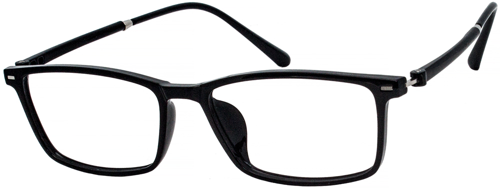 The sleek design of these eyeglasses is enhanced by the double stud detail on the hinges. The glossy Black finish keeps them simple and sophisticated. This frame is suitable for men and women, and look good on any face shape. Ultra-light TR90 material makes it lighter, even if you wear it when exercising or working all day. VK1844 will bring you better enjoy and a clear vision.