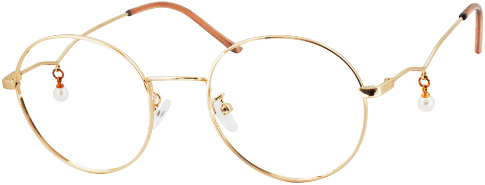 VK 2579 Round Glasses is a perfect combination of retro round frame and pearls. The slim rim  gave this frame a lively, lovely and fashionable feeling. The unique pearl pendant and retro round frame echo each other and bring you a sense of the vintage and elegant trend. Metal frame and trendy Earring Pendant make your wear experience lighter and more fashionable at the same time.