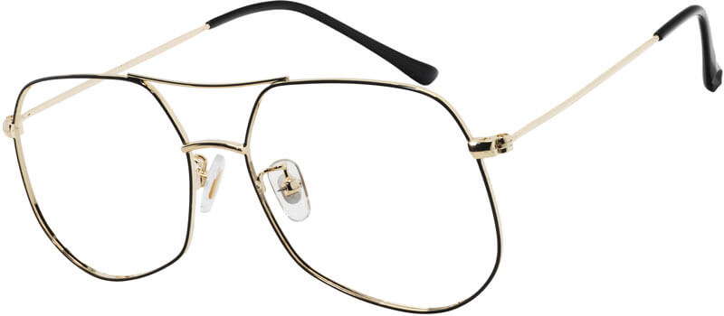 Aviator is out-of-date? Check these avant-garde VK 9039 Aviator glasses out. Vintage aviator style mixed with modern geometric design. The combination give these glasses an undeniable spark. These glasses work well on both prescription glasses or sunglasses. There are two colors available: golden with black rim and pure black.