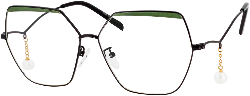 VK 10028 Geometric Glasses is a cool nova. This geometric frame has bold geometric frame and miniature eyebrow frame. At the same time, the pearl decoration on the temples adds a gentle  feel to it. When it comes to tackling your day with style and grace, wear it and your outfit would be more fashionable.