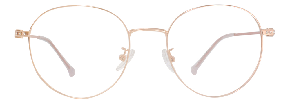 VK 2248 Round Glasses is decorated with a low-profile elegant Rhinestones on the classical metal frame. The temple arms are painted with color. The unique and non-exaggerated appearance enables it to match any kind of your outfit. The adjustable nose pads ensure the comfortableness when you wear it.