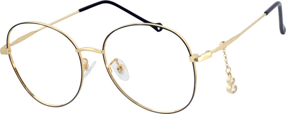 VK 160291 Round glasses is composed of metal material and full of new-fashioned sense. Fall in love the moment when you first see those glasses. The crystal ornaments makes the frame elegant, simultaneously vintage and modern and the gold hue is subtle way to stand out from the crown and adjustable nose pads and lightweight temple arms keep the look both functional and trendy.