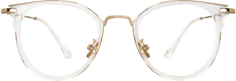 This pair of wayfarer frame blends square and circle perfectly, with a smooth transparent border and golden sleek. The golden adjustable nose pads allow the frame to fit everyone's face, lightweight TR90 material will give you a more comfortable wearing experience. The vintage and elegant shape work well for daily wearing.