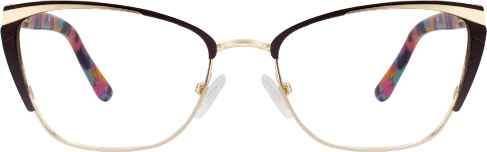 VK 8803 Cateye glasses is composed of mixed material and full of new-fashioned sense. The design of frame represents an interesting compromise between new age style and classic retro fashion. The gold metal line on the browline of the frame adds a futuristic touch to the design of frame and the spring hinges make frame comfortable to wear.