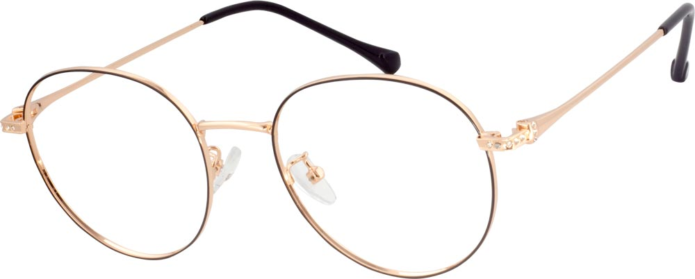 VK 2248 Round Glasses is decorated with a low-profile elegant Rhinestones on the classical metal frame. The temple arms are painted with color. The unique and non-exaggerated appearance enables it to match any kind of your outfit. The adjustable nose pads ensure the comfortableness when you wear it.There are both the tender and changeable of lovely girl and the high cool style of the modern girl.
