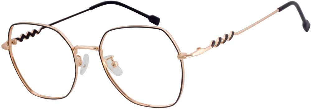 VK 6022  Geometric glasses is composed of metal material and full of elegant sense. Those frames are perfect for work or play, the metal design bring a touch of retro-inspired elegance to your outfit. Those geometric frames can perfectly groom your face shape and the adjustable nose pads sit comfortable wearing experience on every face shape.